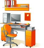 Desk, computer, chair, files - office furniture, workplace poster