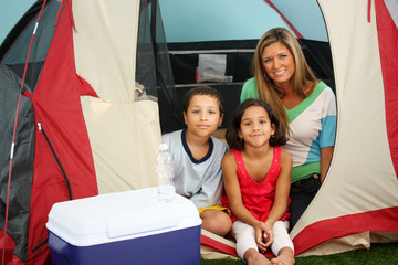 Family In A Tent On Their Camping Trip