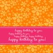 Birthday greetingcard with retro flower pattern