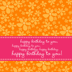 Birthday greetingcard with retro flower pattern