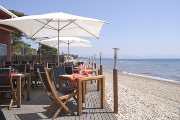 Restaurant on the beach in French Riviera.