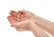 joined female hands holding an invisible object, shallow DOF