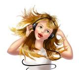girl with earphones poster