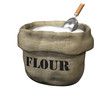 Isolated illustration of an open sack containing flour