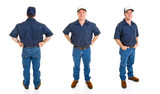 Blue collar worker.  Three full body views poster