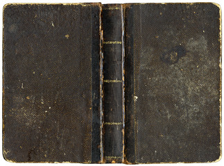 Old book cover - circa 1880 - isolated on white