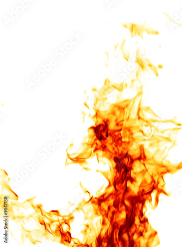 Foto op Canvas Vuur / Vlam Fire isolated on white