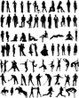 Plenty of different vector people silhouettes