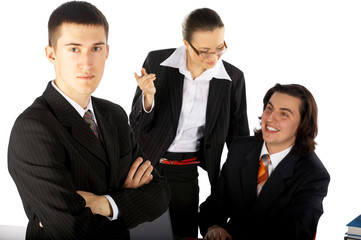 business team of three men and women