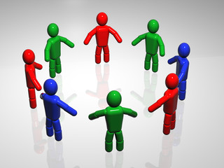 Colour People Circle. 3d rendering.