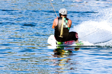 water skiing on skate. summer day