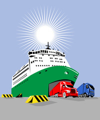 Roro ship with trucks