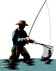 Fisherman catching trout