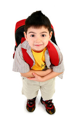 Adorable 5 year old boy ready for first day of school.