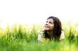 Leinwanddruck Bild - Pretty smiling girl relaxing outdoor
