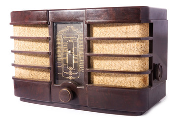 old vintage radio, white isolated, clipping path included