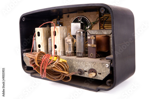 an old vintage radio reciever, clipping path included