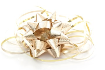Gold foil bow with gold ribbon on white