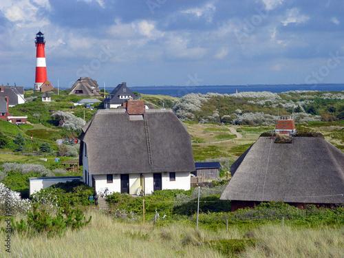 Leinwanddruck Bild Leuchtturm Sylt Hörnum mit Häusern