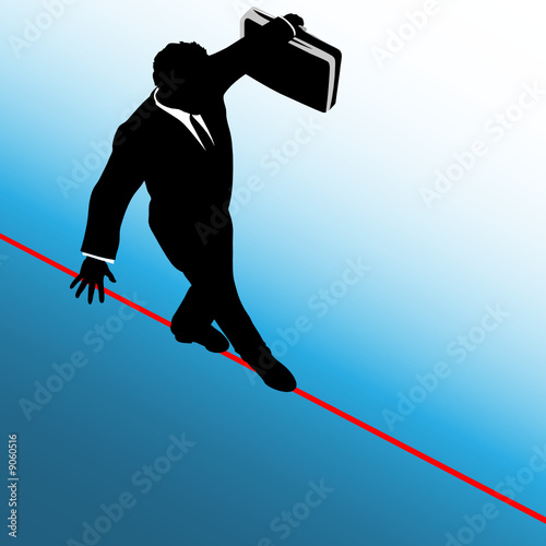 Business Man Risk on Tightrope Above Blue to White Background