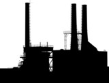 Factory with Smokestacks Silhouette poster