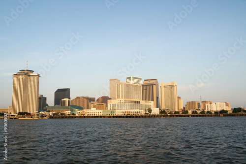 the skyline of New Orleans, Louisiana, just after sunrise