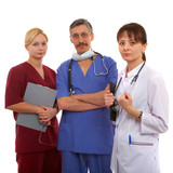 nurse, male and female doctors with the schedule list. poster