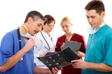 nurse, two male and one female doctors with schedule poster