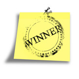 yellow winner memo on a white background poster