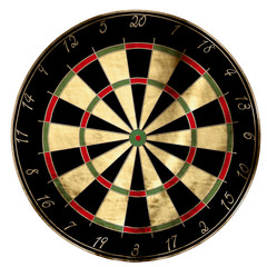 Darts board on a solid white background