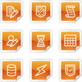 Database web icons, orange glossy sticker series poster