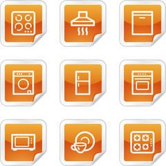 Home appliances web icons, orange glossy sticker series