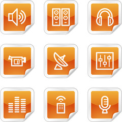 Media web icons, orange glossy sticker series