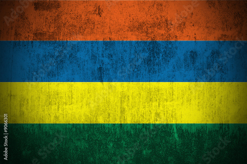 Weathered Flag Of Mauritius, fabric textured..