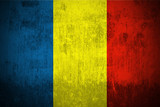 Weathered Flag Of Romania, fabric textured.. poster