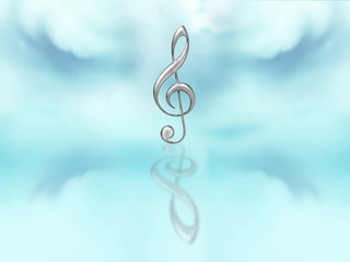 Silver clef on blue background