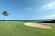 Hawaiian Golf Course on Lava Ocean Shore of Kona Island