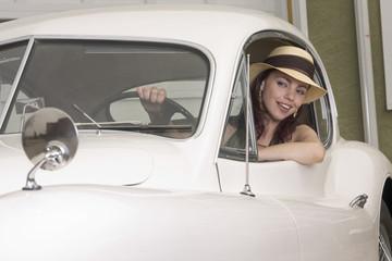 Driving her Jaguar