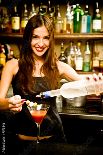 A young female bartender, photographed at work. - 9073546