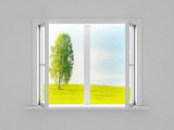 Landscape behind the open window. 3D image - Fine Art prints