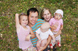 Happiness family with three children