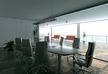 modern office hall interior (3D rendering)