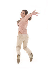 Student woman jumping over white. Over white background