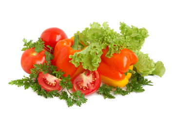 Bell peppers, tomatos, lettuce and parsley
