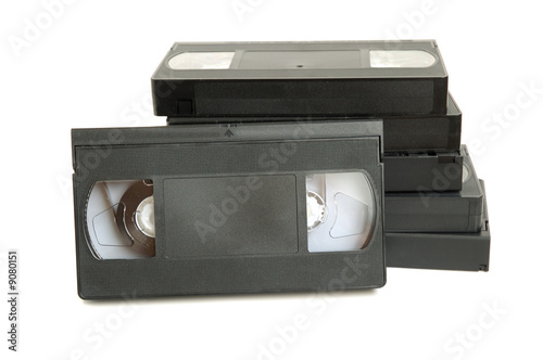 Group of video cassette tapes on white background