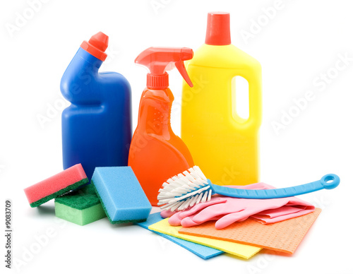 poster of cleaning and sanitation products studio isolated