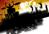 An abstract music band background with people having fun