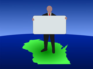business man on map of Wisconsin with blank sign
