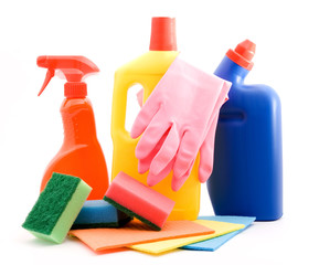 cleaning and sanitation products studio isolated