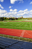 Wide angle view of public outdoor athletic stadium poster